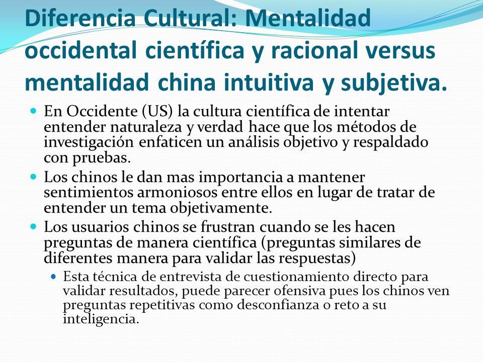Diferencia Cultural: Mentalidad occidental científica y racional versus mentalidad china intuitiva y subjetiva.