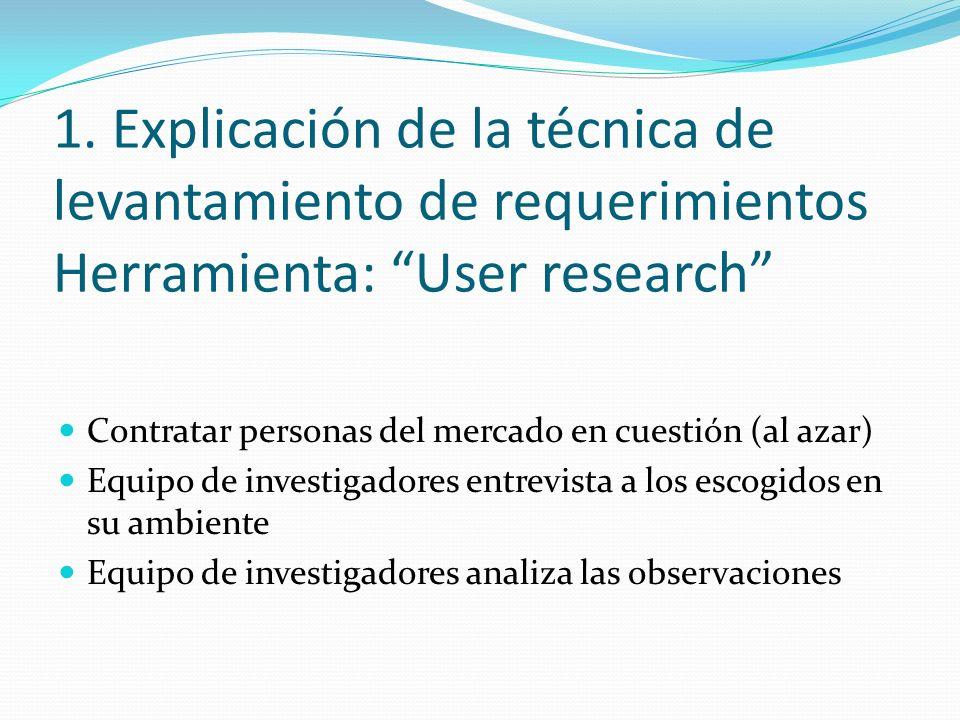 1. Explicación de la técnica de levantamiento de requerimientos Herramienta: User research