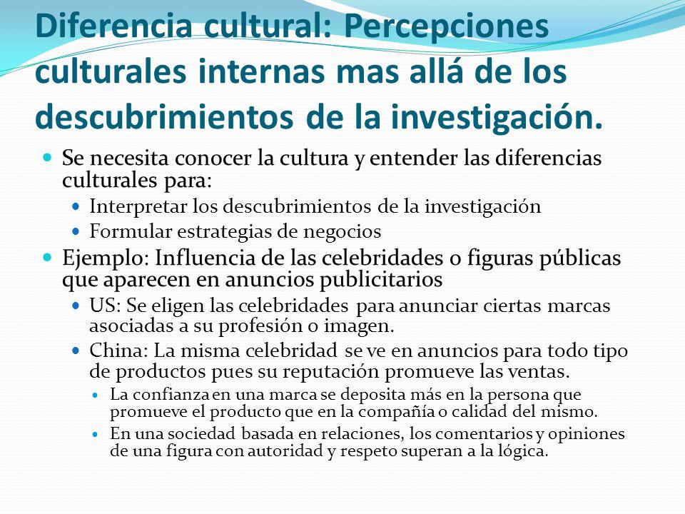 Diferencia cultural: Percepciones culturales internas mas allá de los descubrimientos de la investigación.
