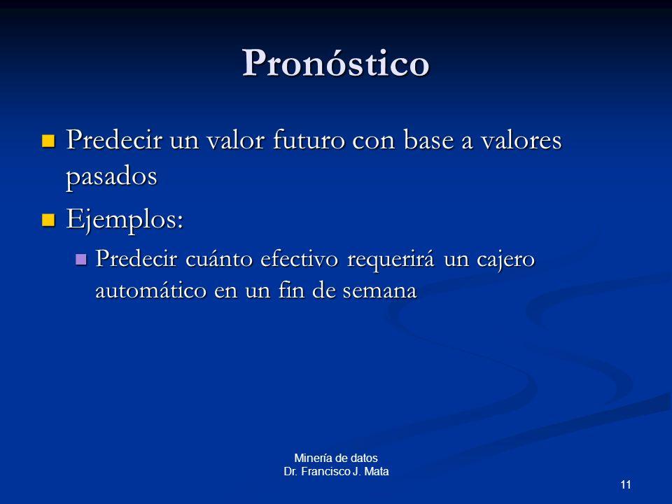 Pronóstico Predecir un valor futuro con base a valores pasados