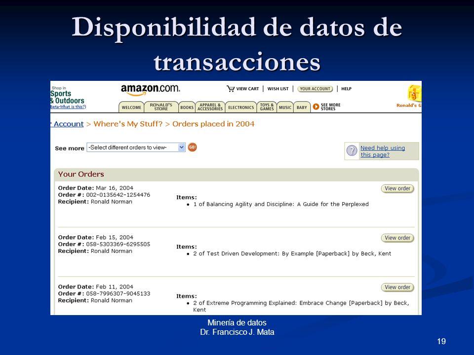 Disponibilidad de datos de transacciones