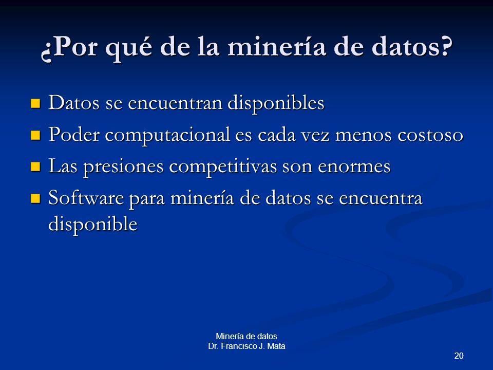 ¿Por qué de la minería de datos