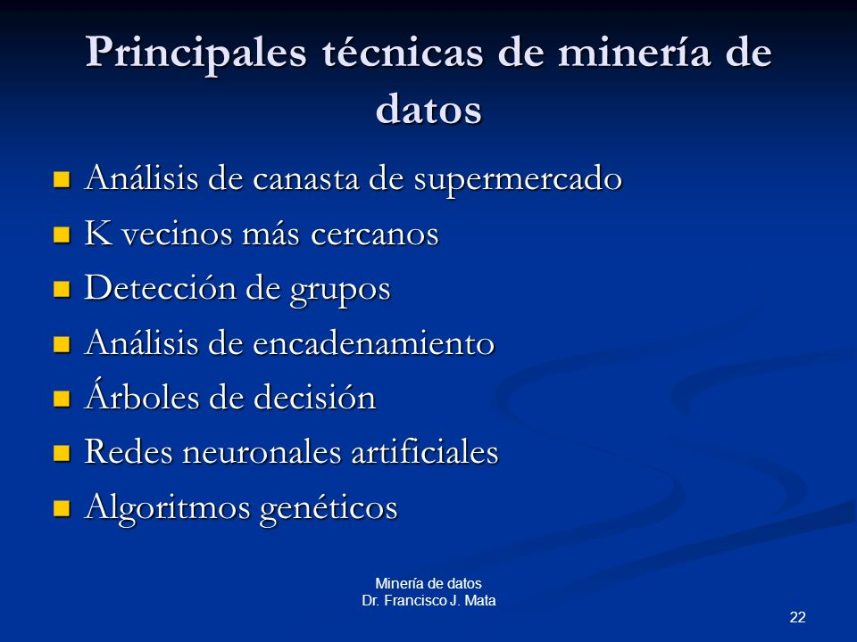 Principales técnicas de minería de datos
