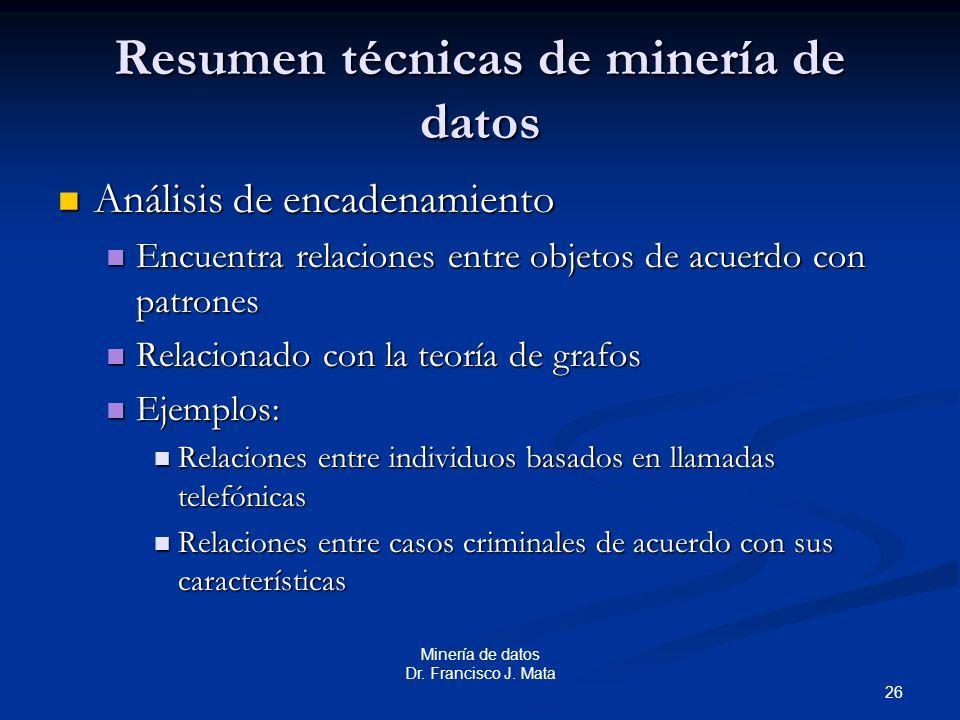 Resumen técnicas de minería de datos