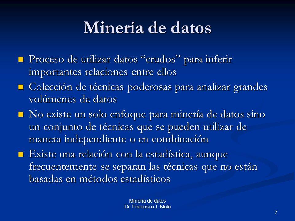 Minería de datos Proceso de utilizar datos crudos para inferir importantes relaciones entre ellos.
