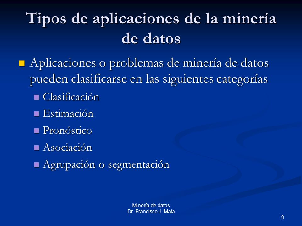 Tipos de aplicaciones de la minería de datos
