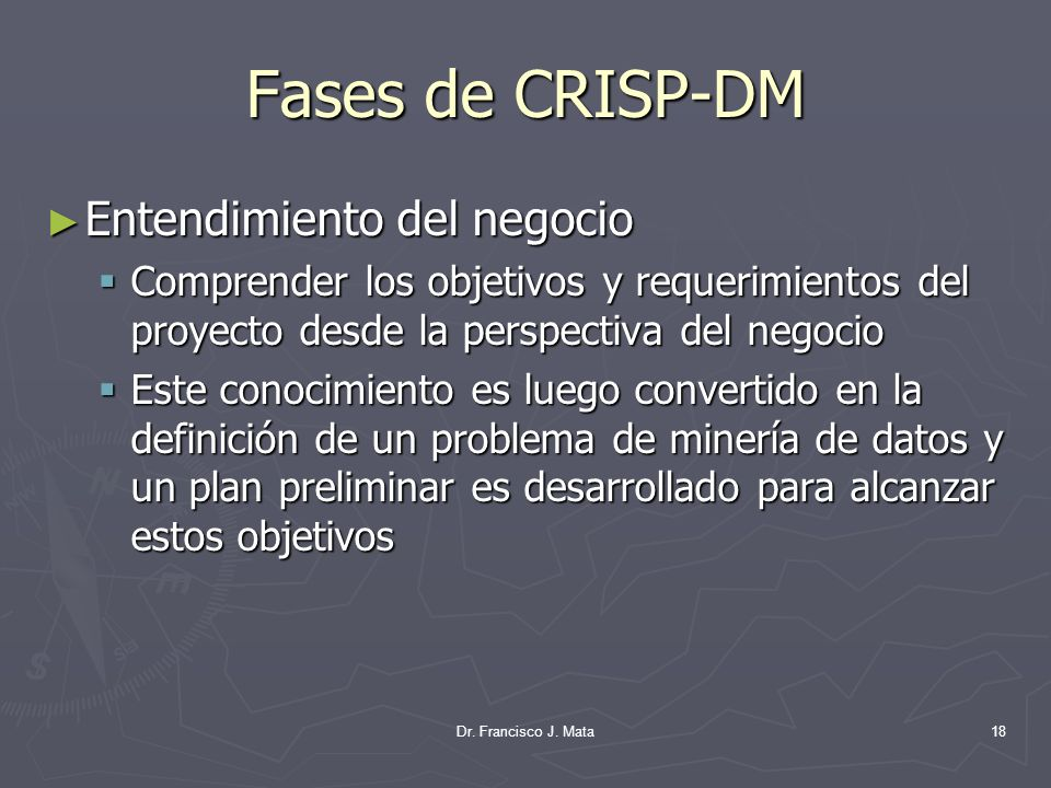 Fases de CRISP-DM Entendimiento del negocio