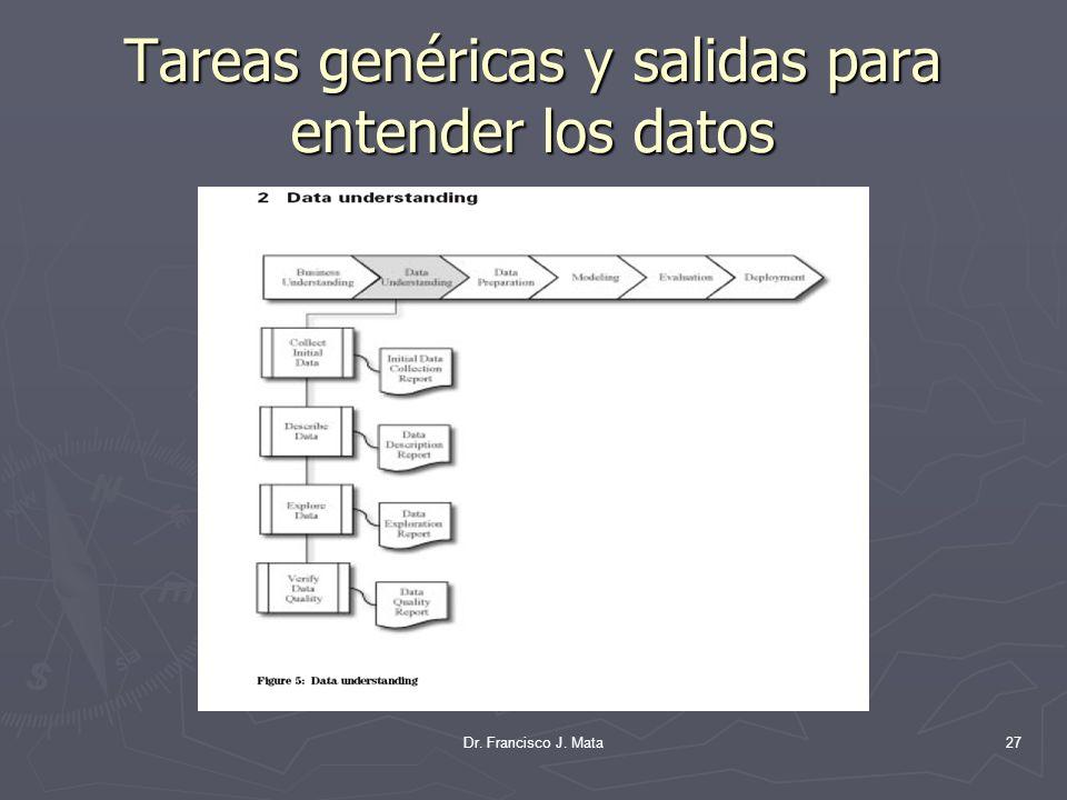 Tareas genéricas y salidas para entender los datos