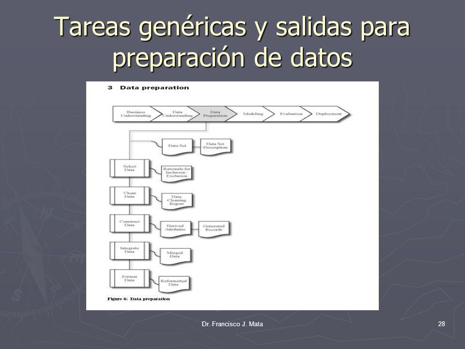 Tareas genéricas y salidas para preparación de datos