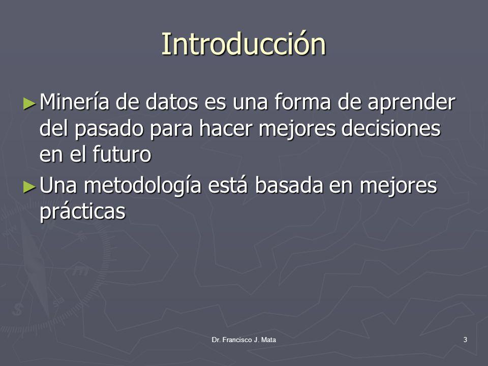Introducción Minería de datos es una forma de aprender del pasado para hacer mejores decisiones en el futuro.