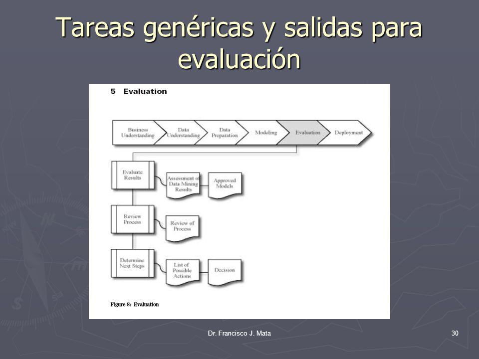 Tareas genéricas y salidas para evaluación