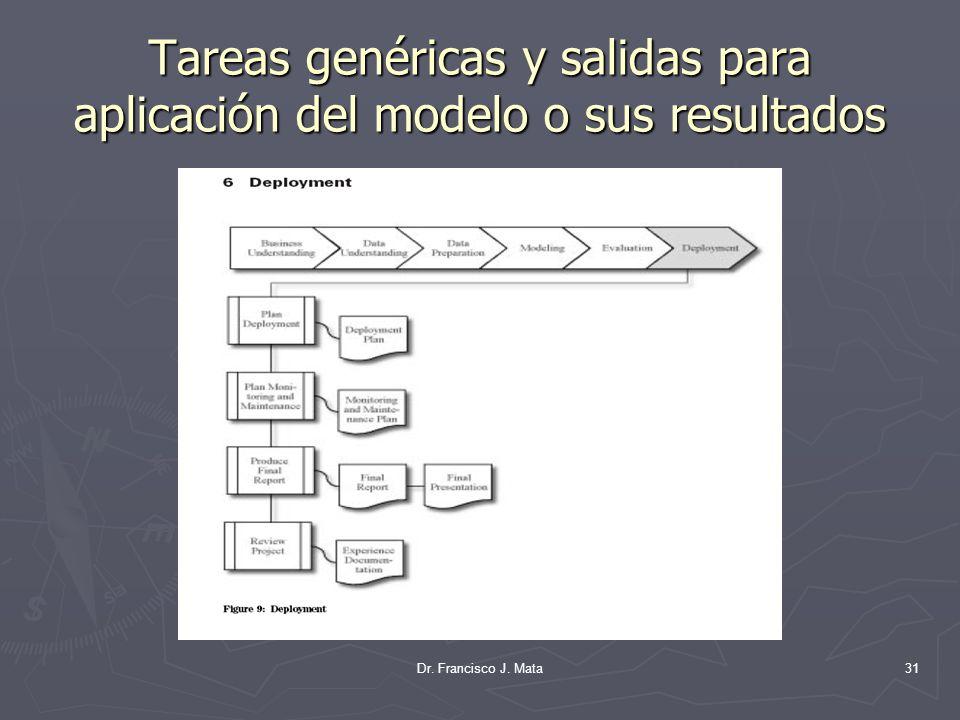Tareas genéricas y salidas para aplicación del modelo o sus resultados