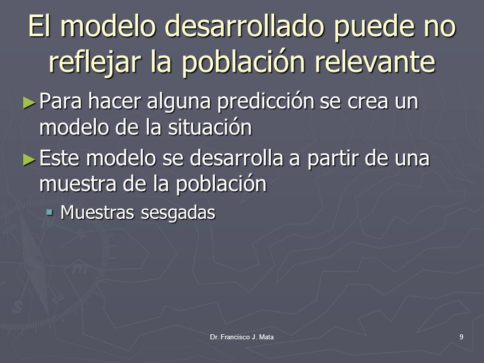 El modelo desarrollado puede no reflejar la población relevante