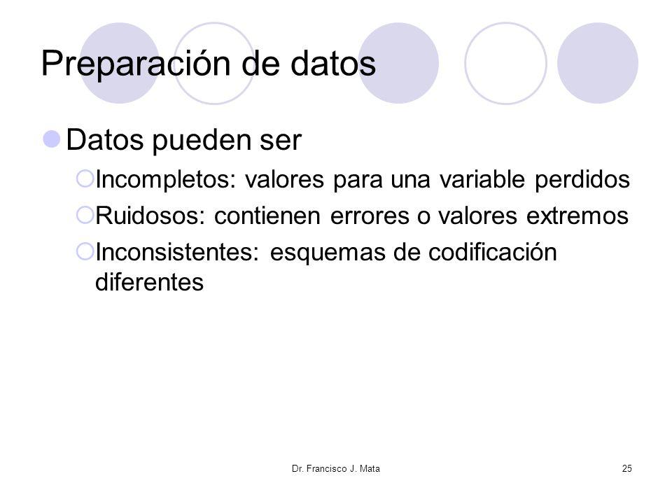 Preparación de datos Datos pueden ser