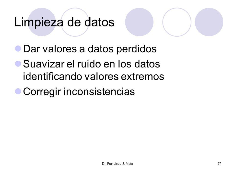 Limpieza de datos Dar valores a datos perdidos