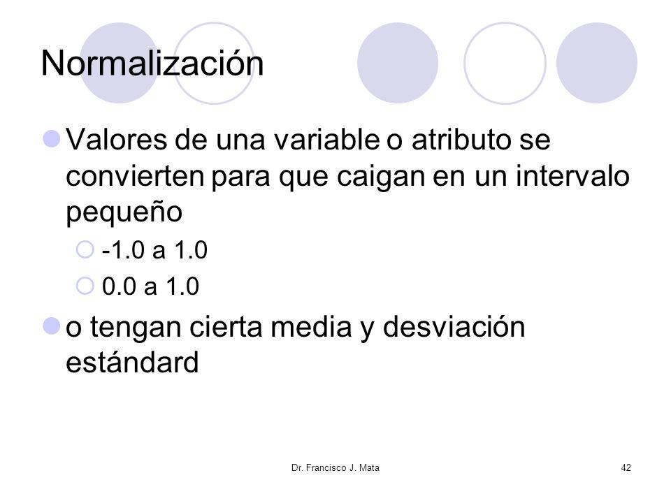 Normalización Valores de una variable o atributo se convierten para que caigan en un intervalo pequeño.