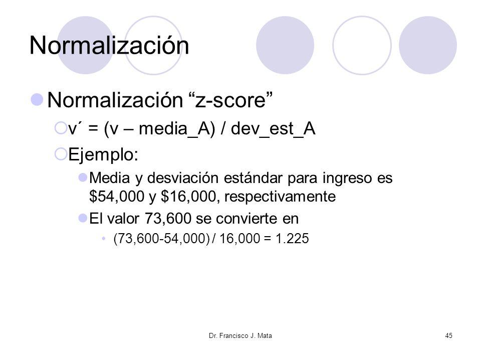 Normalización Normalización z-score v´ = (v – media_A) / dev_est_A
