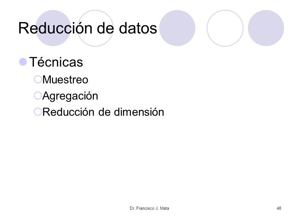 Reducción de datos Técnicas Muestreo Agregación Reducción de dimensión