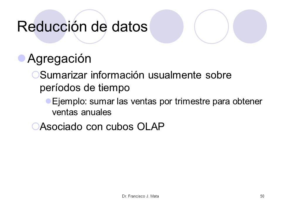 Reducción de datos Agregación