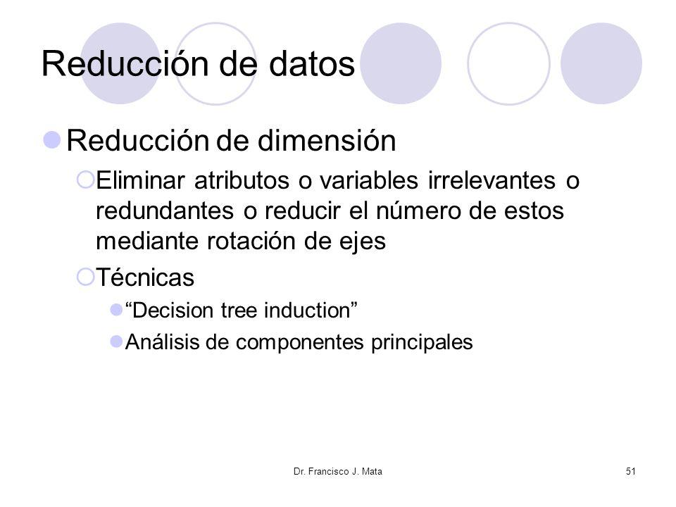 Reducción de datos Reducción de dimensión