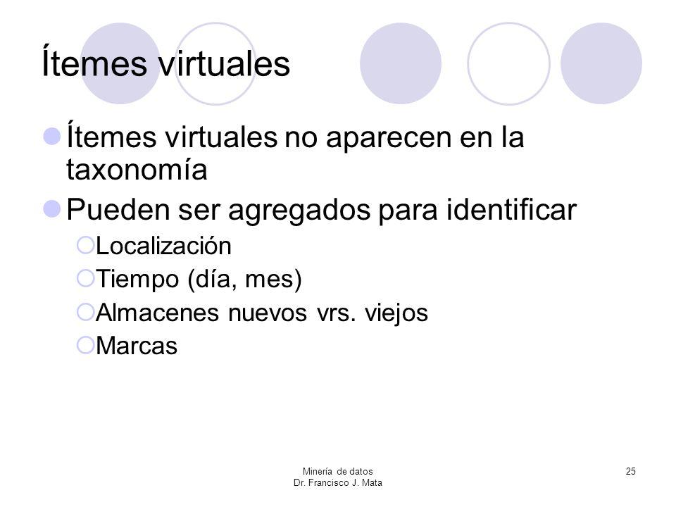 Ítemes virtuales Ítemes virtuales no aparecen en la taxonomía