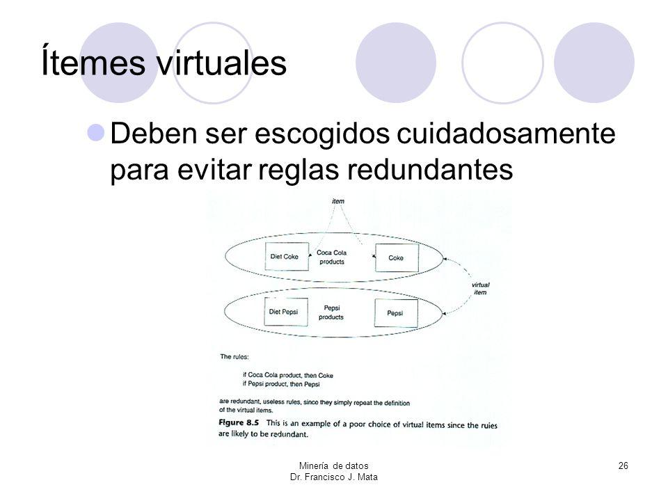 Ítemes virtuales Deben ser escogidos cuidadosamente para evitar reglas redundantes. Minería de datos.