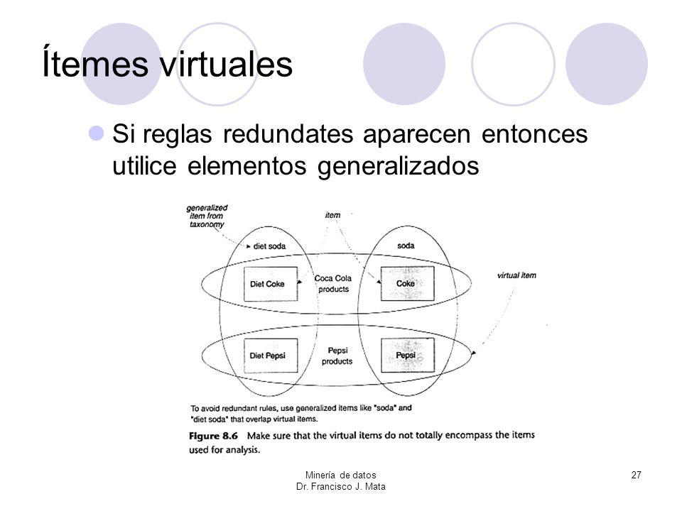 Ítemes virtuales Si reglas redundates aparecen entonces utilice elementos generalizados. Minería de datos.