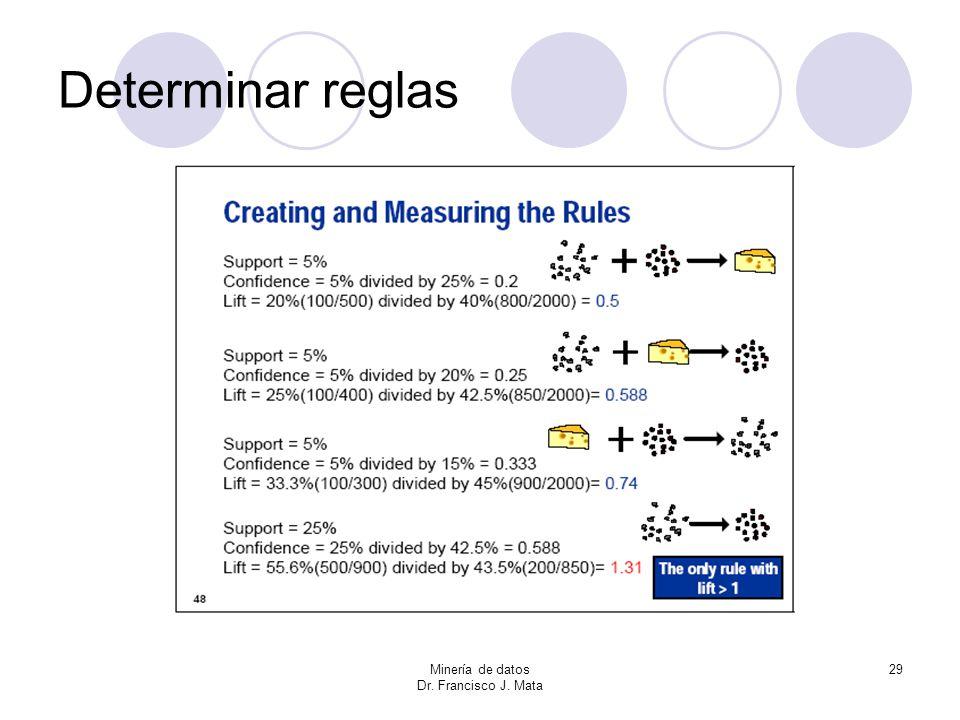 Determinar reglas Minería de datos Dr. Francisco J. Mata