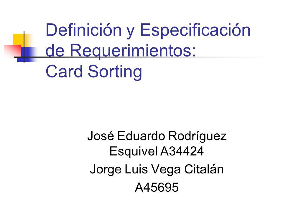 Definición y Especificación de Requerimientos: Card Sorting