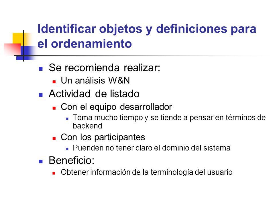 Identificar objetos y definiciones para el ordenamiento