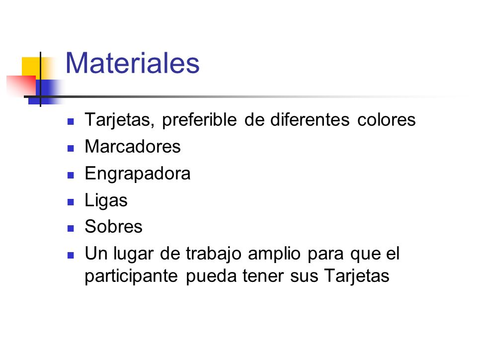 Materiales Tarjetas, preferible de diferentes colores Marcadores