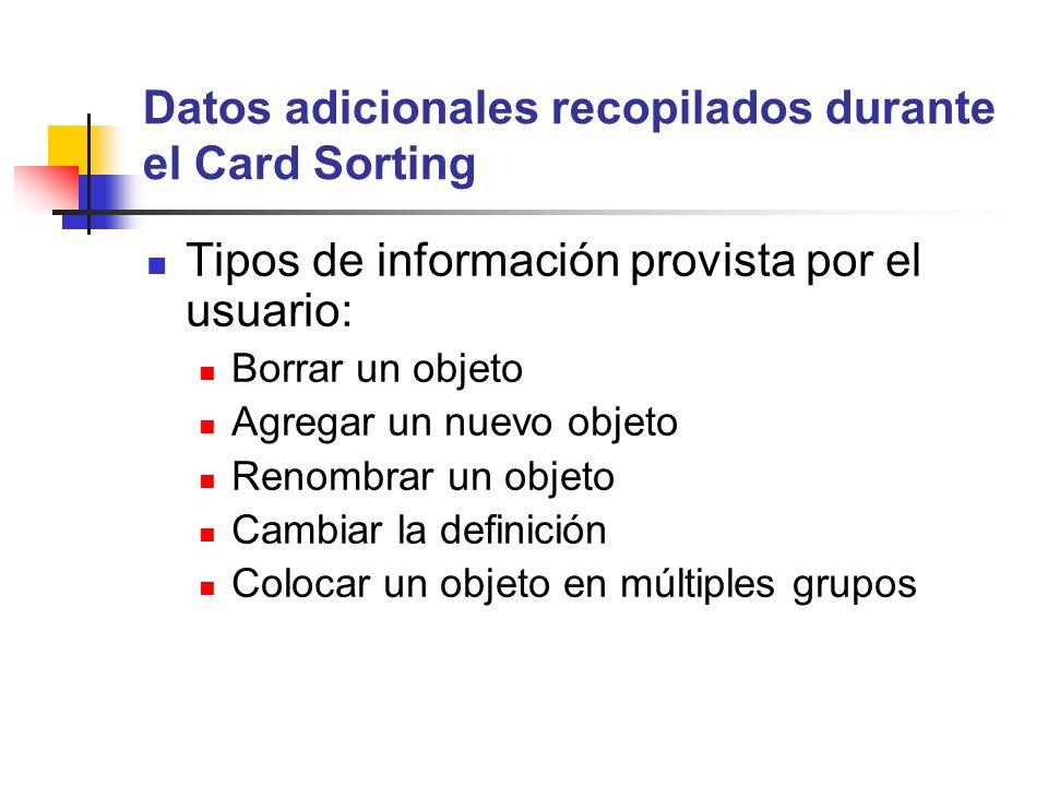 Datos adicionales recopilados durante el Card Sorting