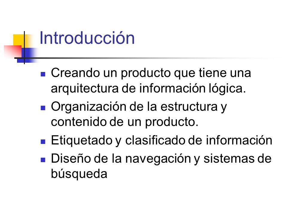 Introducción Creando un producto que tiene una arquitectura de información lógica. Organización de la estructura y contenido de un producto.