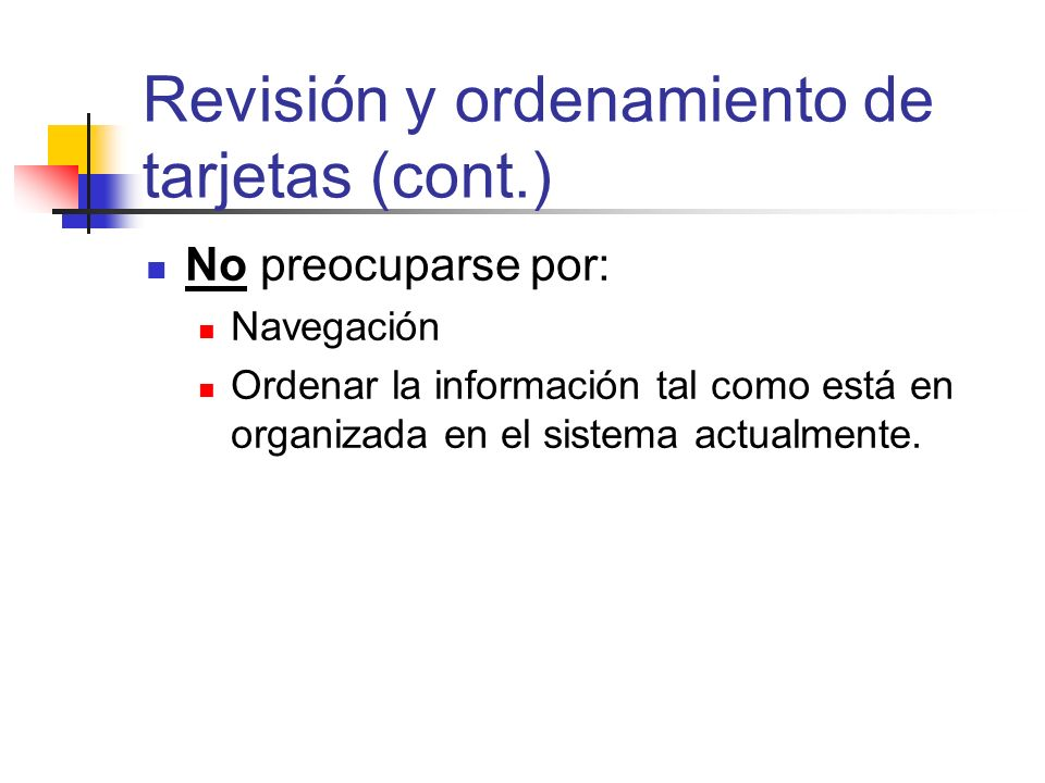 Revisión y ordenamiento de tarjetas (cont.)