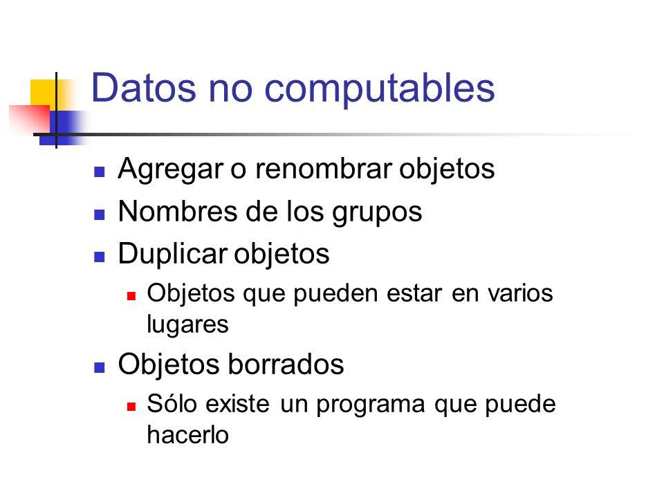 Datos no computables Agregar o renombrar objetos Nombres de los grupos