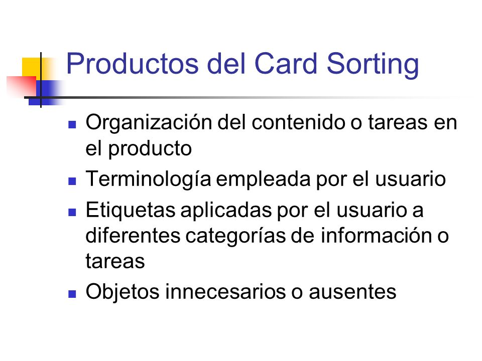Productos del Card Sorting
