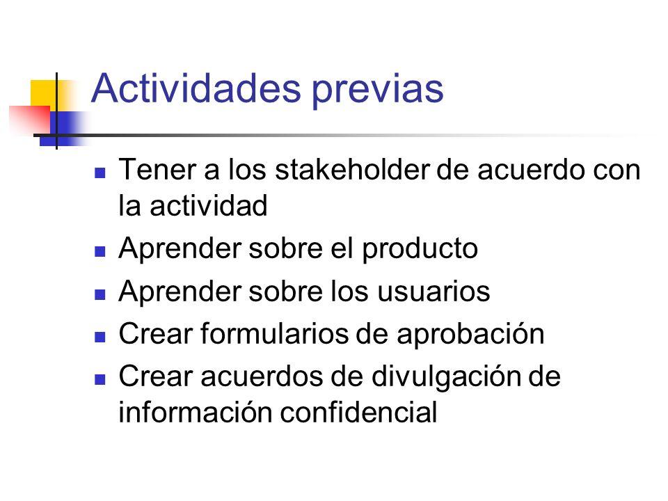 Actividades previas Tener a los stakeholder de acuerdo con la actividad. Aprender sobre el producto.