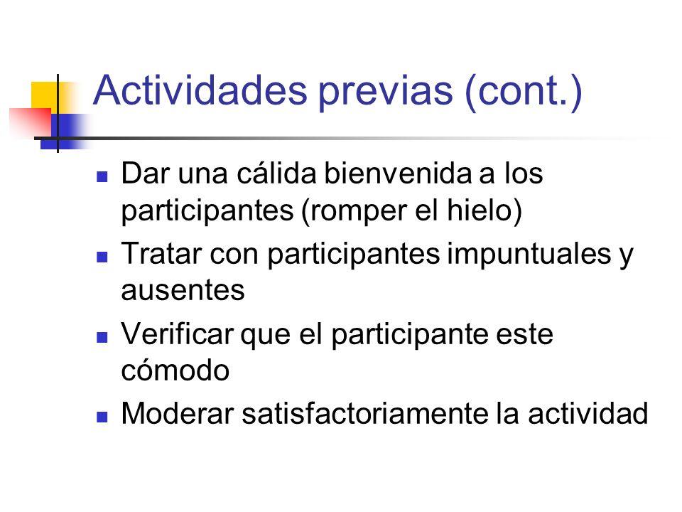Actividades previas (cont.)