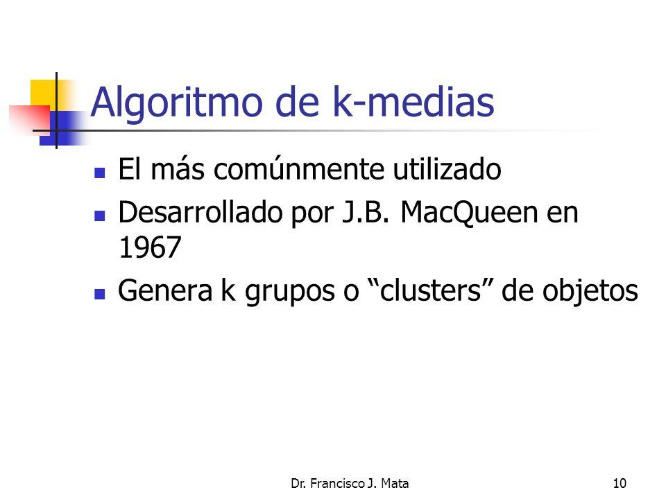Algoritmo de k-medias El más comúnmente utilizado