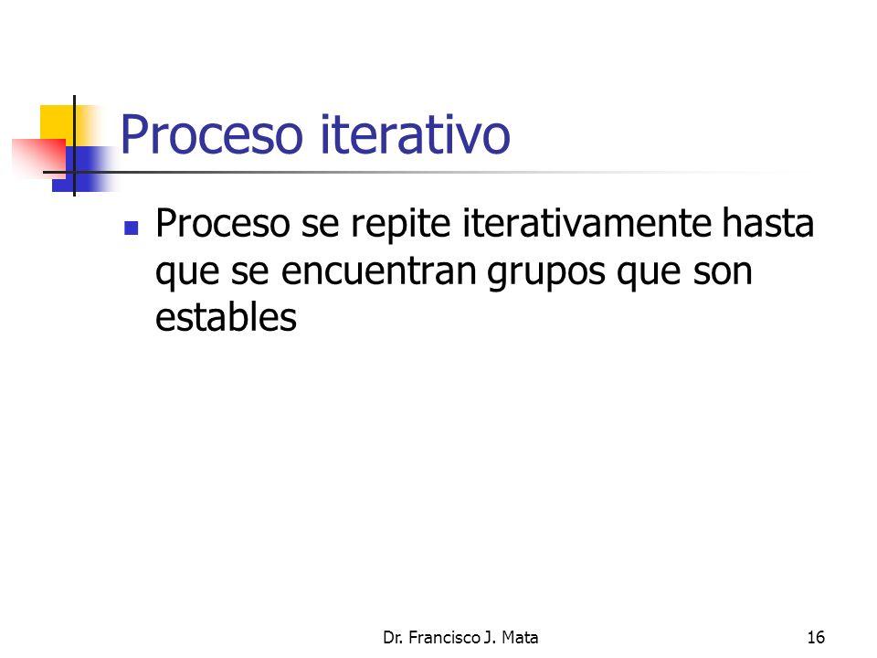 Proceso iterativo Proceso se repite iterativamente hasta que se encuentran grupos que son estables.