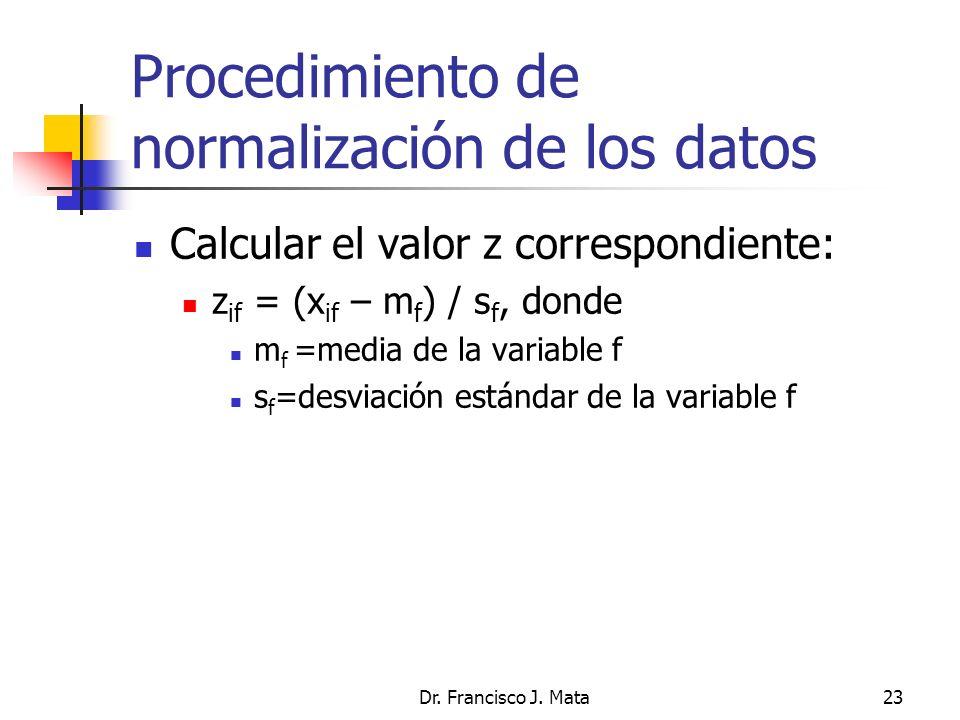 Procedimiento de normalización de los datos