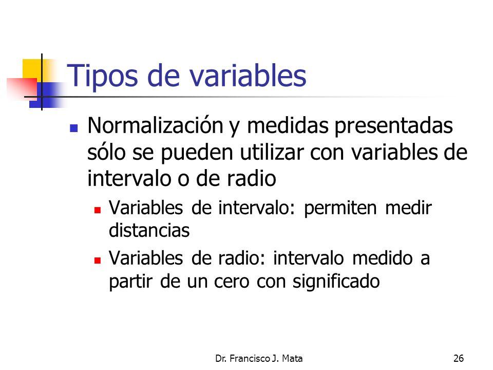 Tipos de variables Normalización y medidas presentadas sólo se pueden utilizar con variables de intervalo o de radio.