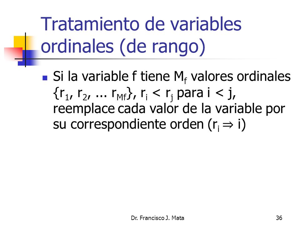 Tratamiento de variables ordinales (de rango)