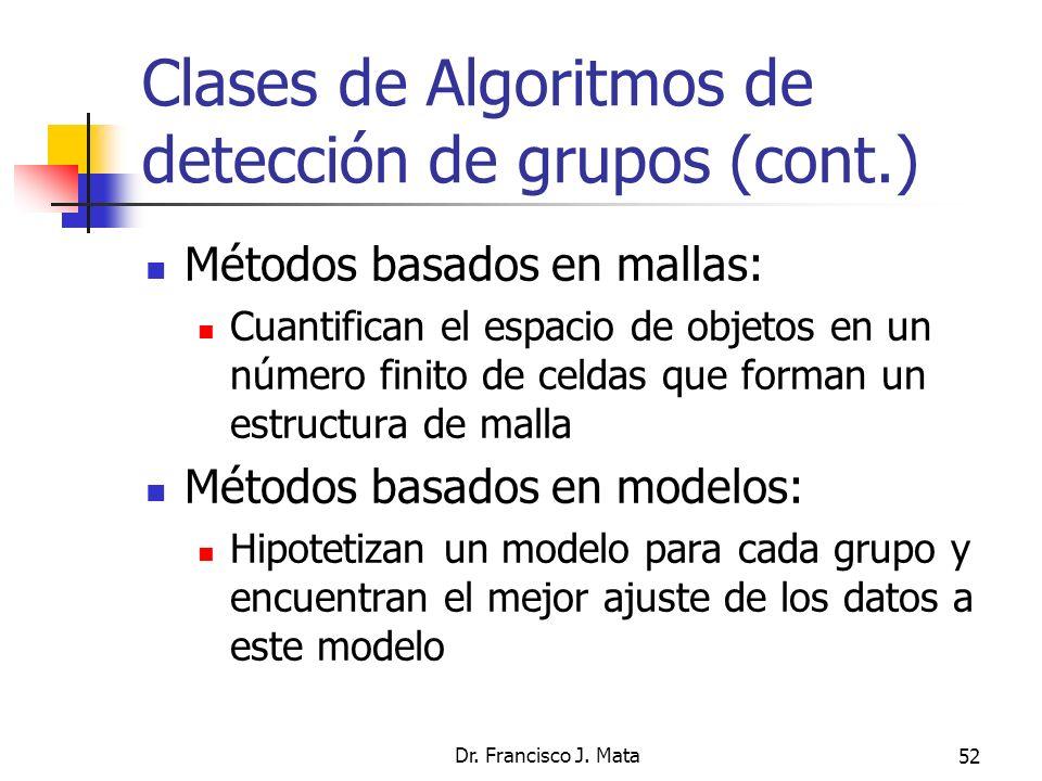Clases de Algoritmos de detección de grupos (cont.)