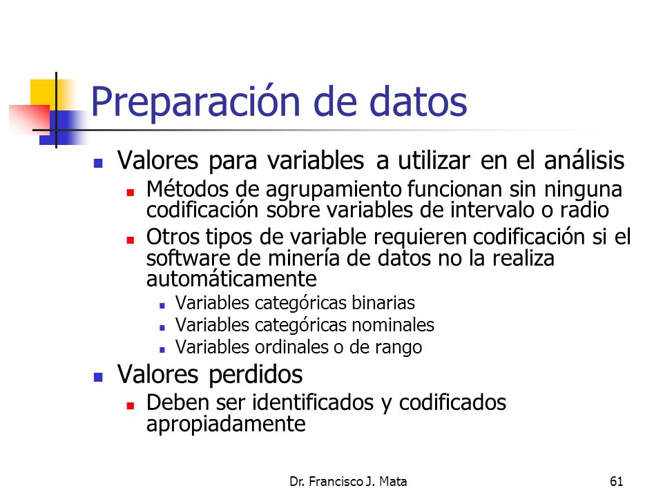Preparación de datos Valores para variables a utilizar en el análisis