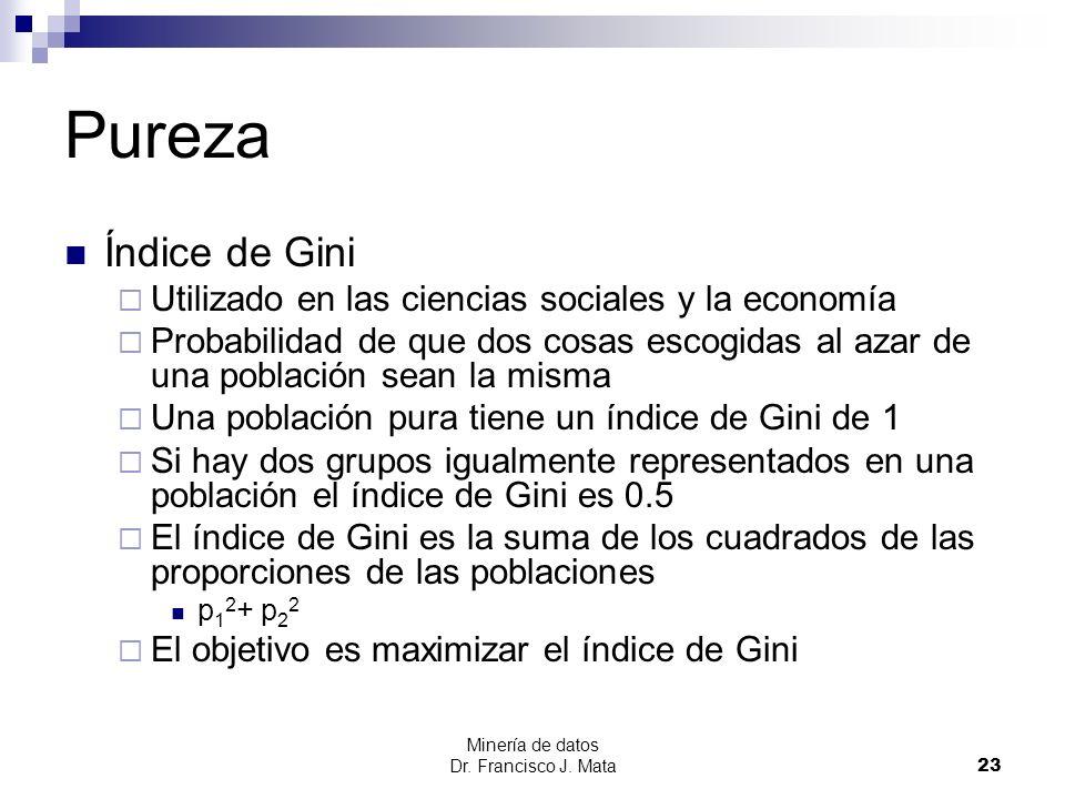 Pureza Índice de Gini Utilizado en las ciencias sociales y la economía