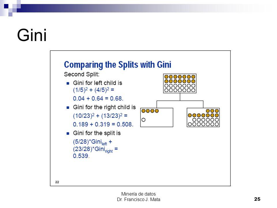Gini Minería de datos Dr. Francisco J. Mata