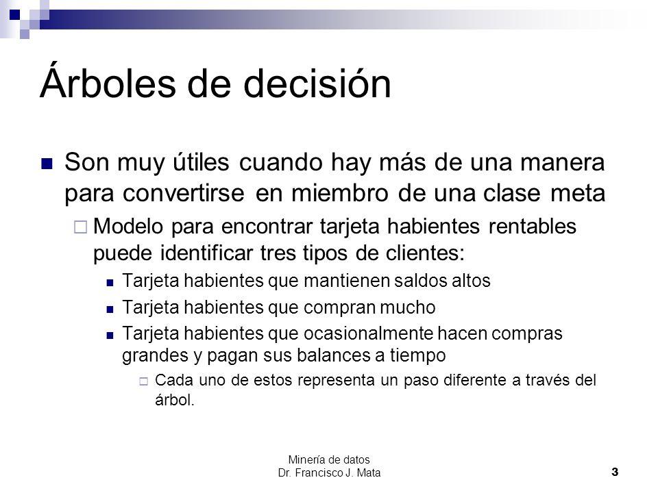 Árboles de decisión Son muy útiles cuando hay más de una manera para convertirse en miembro de una clase meta.