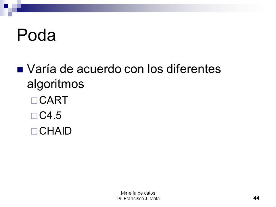 Poda Varía de acuerdo con los diferentes algoritmos CART C4.5 CHAID