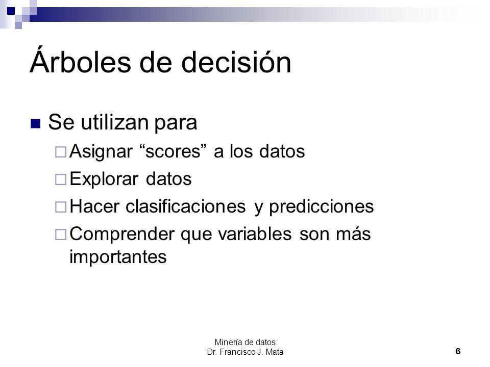 Árboles de decisión Se utilizan para Asignar scores a los datos